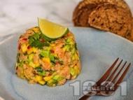 Рецепта Тартар с прясна сурова сьомга, манго и авокадо